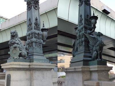 日本橋の獅子・麒麟の彫像