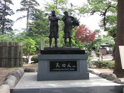 上杉神社、上杉景勝直江兼続主従の像